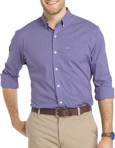 Izod Advantage Gingham Check Shirt-PURPLE-Medium