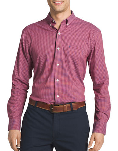 Izod Advantage Gingham Check Shirt-RED-Small