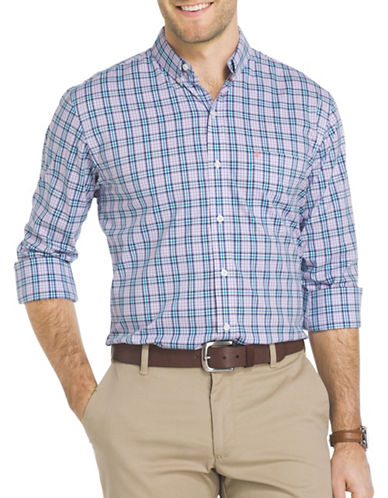 Izod Performance Gingham Casual Button-Down Shirt-PURPLE-X-Large