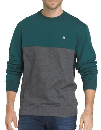 Izod Advantage Fleece colourblock Sweatshirt-GREEN-X-Large