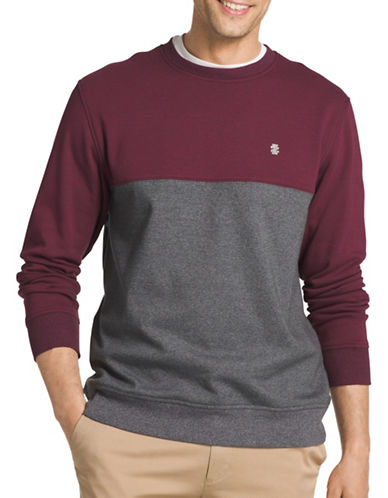 Izod Advantage Fleece colourblock Sweatshirt-PURPLE-XX-Large