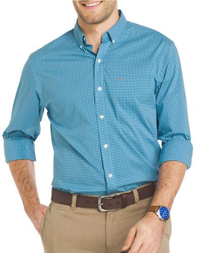 Izod Performance Gingham Sport Shirt-LIGHT BLUE-Large Tall