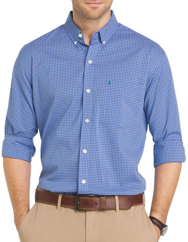 Izod Performance Gingham Sport Shirt-BLUE-4X Big