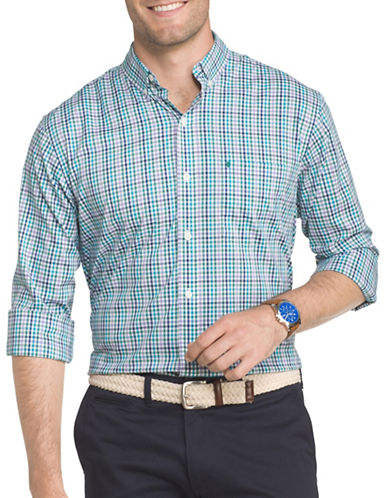 Izod Performance Gingham Sport Shirt-BLUE-3X Big