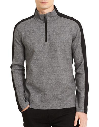 Calvin Klein Jacquard Half Zip Sweater-BLACK-Large