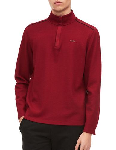 Calvin Klein Jacquard Half Zip Sweater-RED-Medium