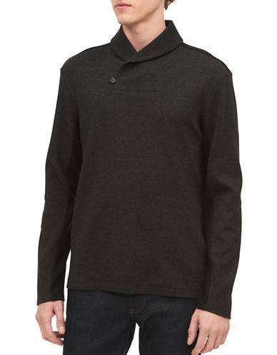 Calvin Klein Heather Shawl Collar Cotton Sweater-BLACK-X-Large