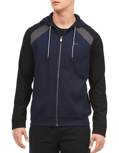 Calvin Klein Colourblock Cotton Hoodie-NAVY-X-Large