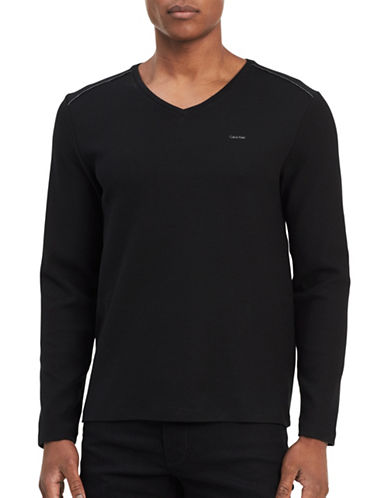 Calvin Klein V-neck Sweater-BLACK-Large