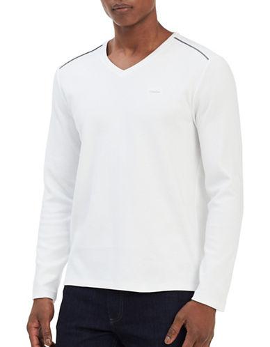Calvin Klein V-neck Sweater-WHITE-Large
