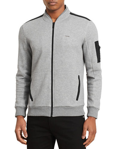 Calvin Klein Double Collar Full Zip Sweatshirt-GREY-Small