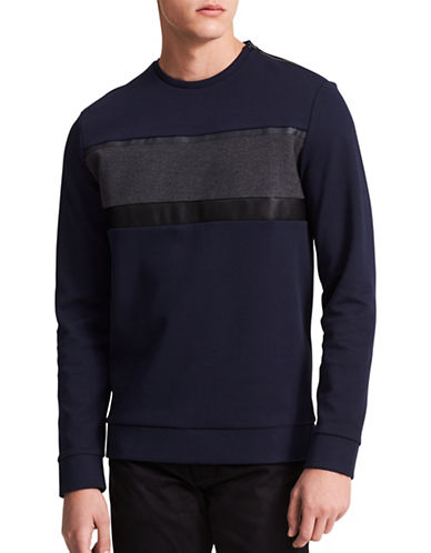 Calvin Klein Colorblock Slim-Fit Sweatshirt-BLUE-Medium