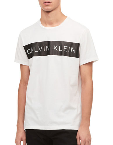 Calvin Klein Pieced Cotton T-Shirt-WHITE-X-Large