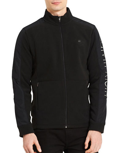 Calvin Klein Mixed Media Fleece Jacket-BLACK-Large