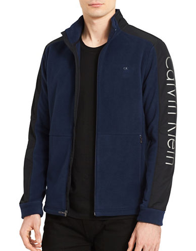 Calvin Klein Mixed Media Fleece Jacket-BLUE-X-Large