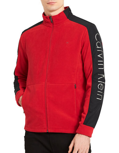 Calvin Klein Mixed Media Fleece Jacket-RED-X-Large
