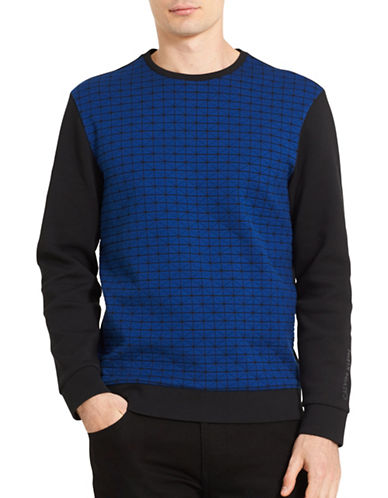 Calvin Klein Blocked Diamond Slim-Fit Sweatshirt-BLUE-Large
