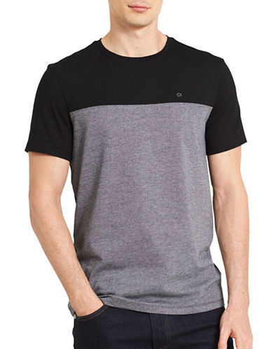 Calvin Klein Crewneck Pattern Cotton Tee-BLACK-X-Large