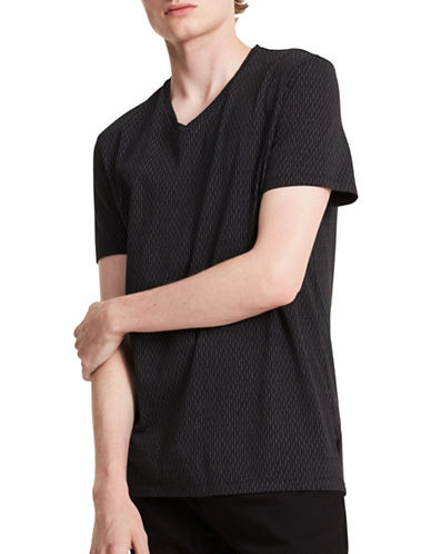 Calvin Klein Pinstripe V-Neck Cotton T-Shirt-BLACK-Small