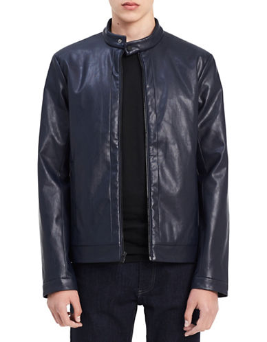 Calvin Klein Regular-Fit Moto Jacket-BLUE-Large