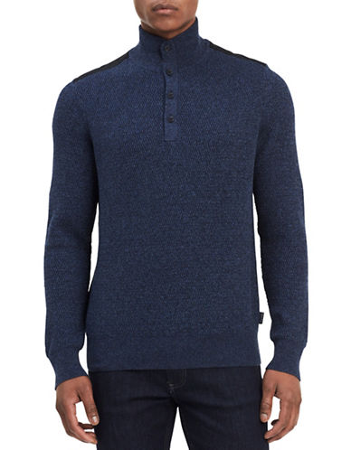 Calvin Klein Colourblocked Quarter-button Cotton Sweater-BLUE-Small