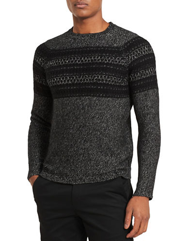 Calvin Klein Slim-Fit Crew Sweater-BLACK-X-Large