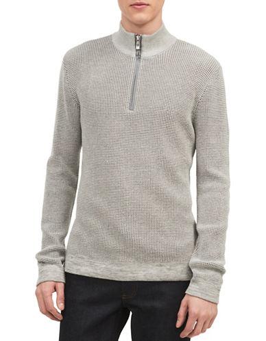 Calvin Klein Ribbed Quarter Zip Sweater-GREY-Small 89662804_GREY_Small