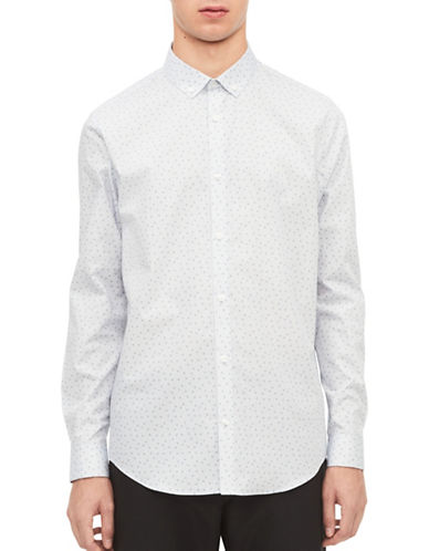 Calvin Klein Infinite Triangles Non-Iron Sport Shirt-WHITE/BLUE-Large