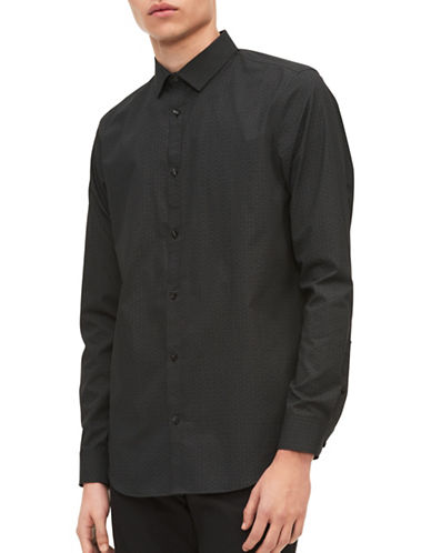 Calvin Klein Infinite Cotton Non-Iron Sport Shirt-BLACK-Large