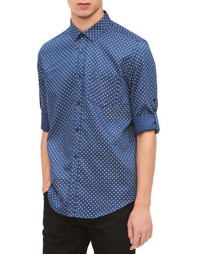 Calvin Klein Classic-Fit Dot Sport Shirt-BLUE-Small