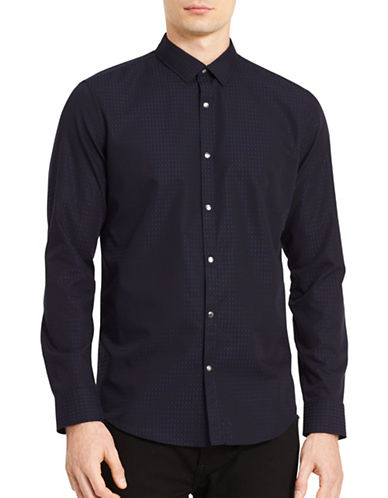 Calvin Klein Stretch Geo Print Sport Shirt-BLUE-X-Large