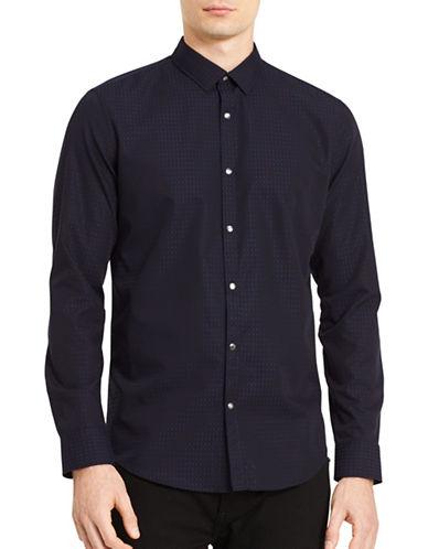 Calvin Klein Stretch Geo Print Sport Shirt-BLUE-Small