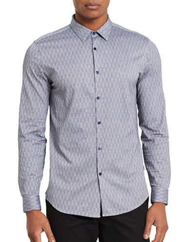 Calvin Klein Stripe Slim-Fit Cotton Sport Shirt-BLUE-X-Large