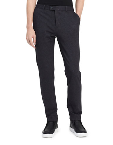 Calvin Klein Classic-Fit Heathered Pants-BLUE-34X32