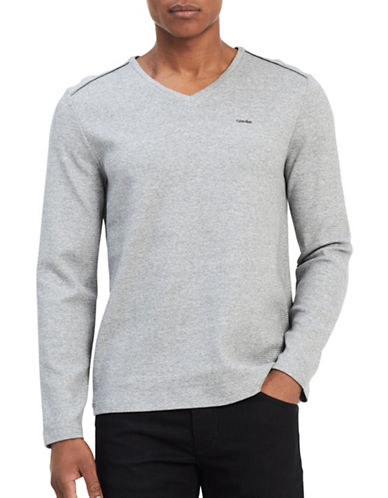 Calvin Klein V-neck Sweater-GREY-Medium