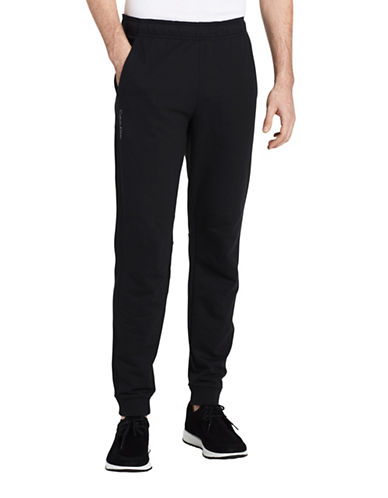 Calvin Klein Mixed Media Terry Sweatpants-BLACK-X-Large
