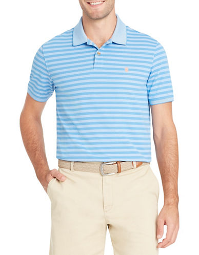 Izod Short-Sleeve Feeder Stripe Polo-MEDIUM BLUE-Large
