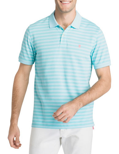 Izod Short-Sleeve Feeder Stripe Polo-BLUE-Small
