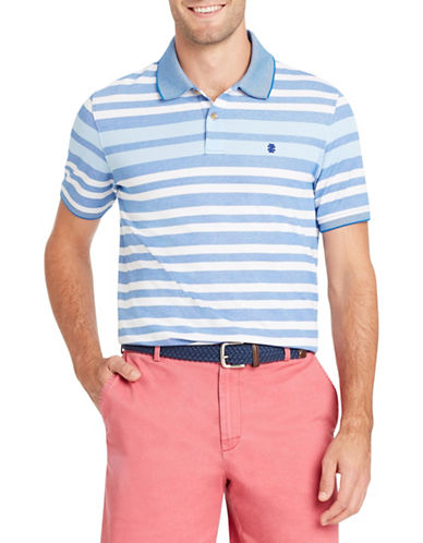 Izod Short-Sleeve Engineered Stripe Polo-BLUE-Large