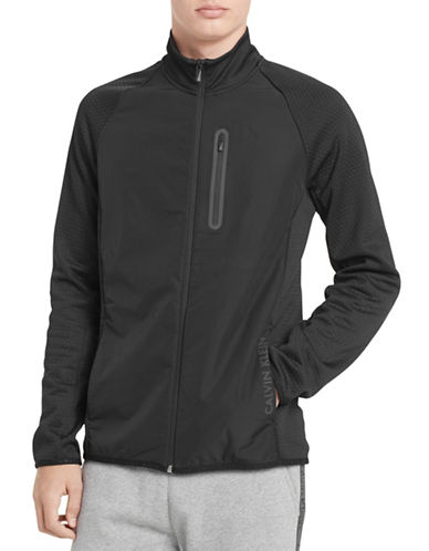 Calvin Klein Mock Neck Full-Zip Jacket-BLACK-Medium