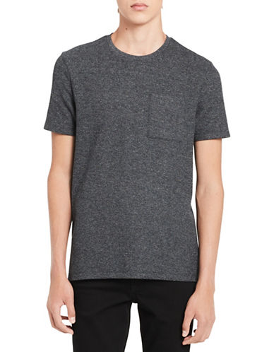 Calvin Klein Drop Hem Heathered T-Shirt-GREY-X-Large
