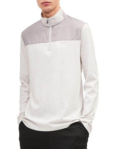 Calvin Klein Quarter-Zip Lifestyle Sweatshirt-GREY-Small