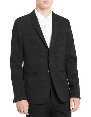 Calvin Klein Concealed Snap Ponte Jacket-BLACK-Medium