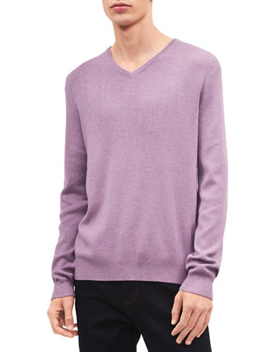 Calvin Klein Solid V-Neck Sweater-PURPLE-X-Large