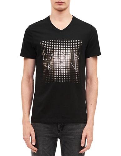 Calvin Klein V-Neck Foil Logo Tee-BLACK-Medium