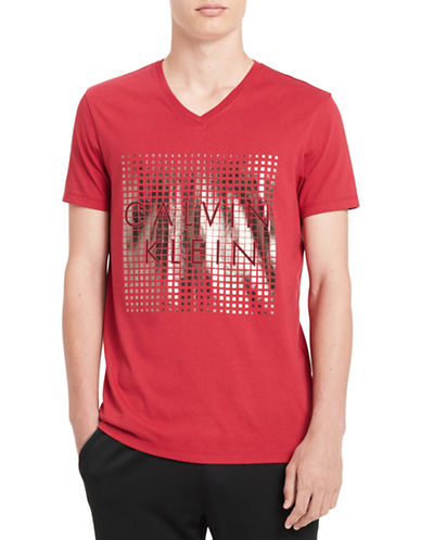 Calvin Klein V-Neck Foil Logo Tee-RED-Medium