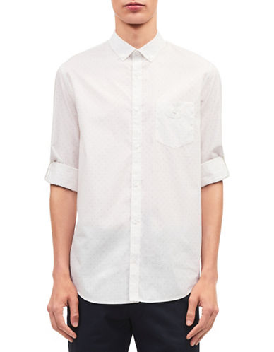 Calvin Klein Mid-Scale Dot Twill Roll-Up Sport Shirt-WHITE-X-Large