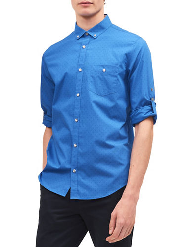 Calvin Klein Mid-Scale Dot Twill Roll-Up Sport Shirt-BLUE-X-Large