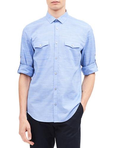 Calvin Klein Space Dye Roll-Up Cotton Sport Shirt-BLUE-Medium