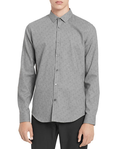 Calvin Klein Slim-Fit Cotton Sportshirt-GREY-Small